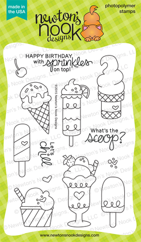 "Newton's Nook Designs - 4"" x 6"" Clear Stamps - Summer Scoops"