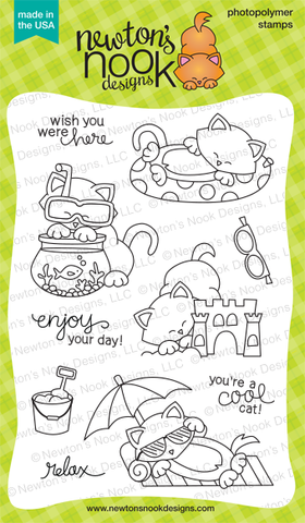 "Newton's Nook Designs - 4"" x 6"" Clear Stamps - Newton's Summer Vacation"