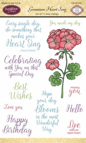 JustRite Papercraft - Clear Stamps - Geranium Heart Song