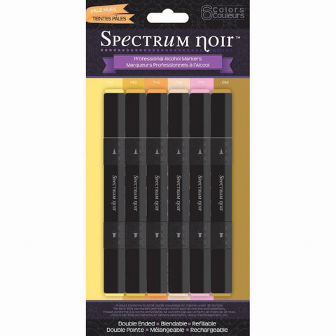 Crafter's Companion Spectrum Noir Alcohol Markers - Pale Hues - Pack of 6