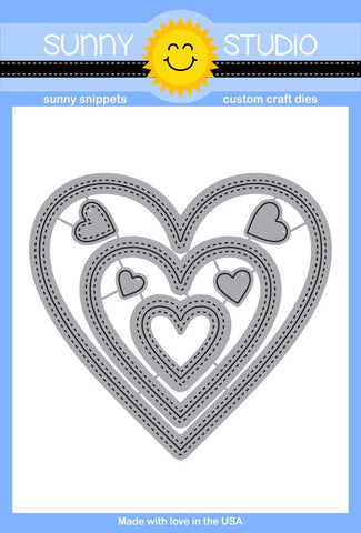 Sunny Studio, Steel Rule Dies - Stitched Heart