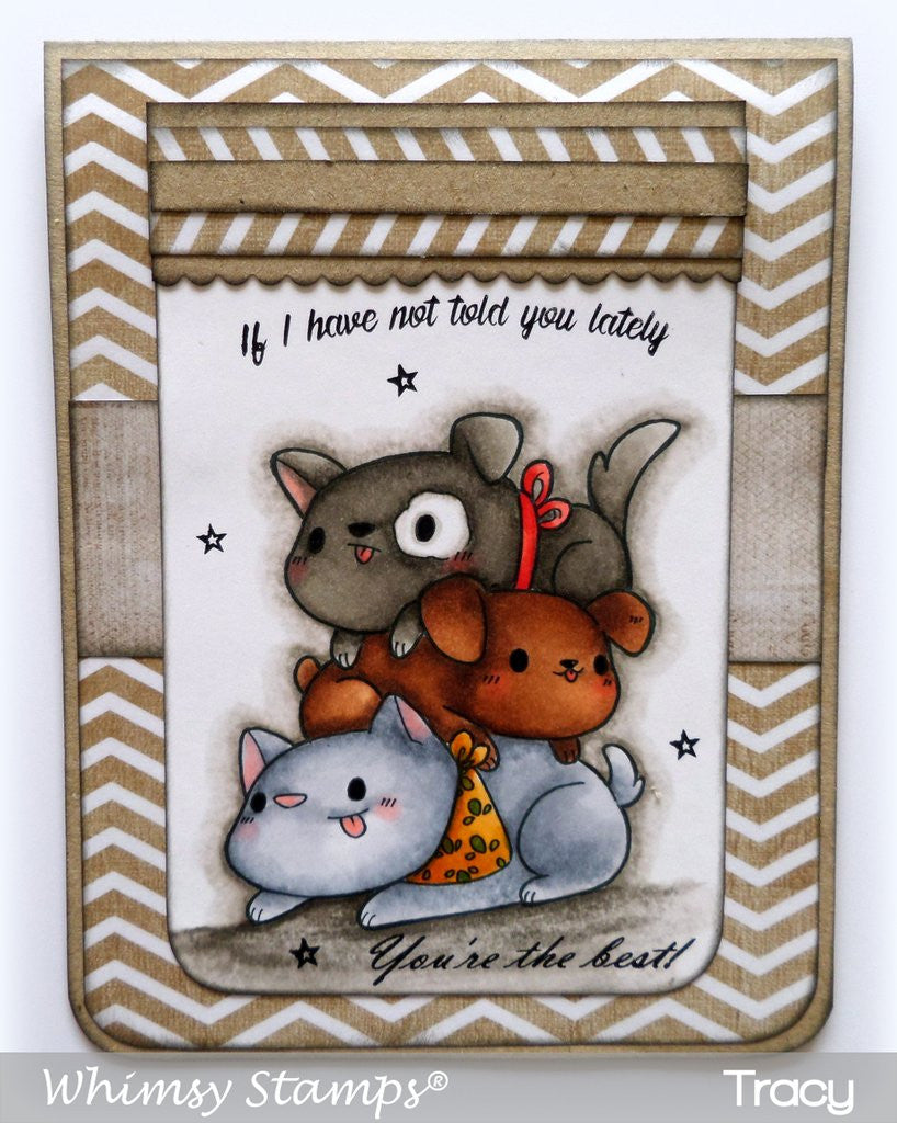 Whimsy Stamps - Cling Stamps - Pile o Puppies