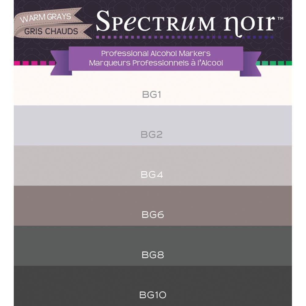 Crafter's Companion Spectrum Noir Alcohol Markers - Warm Grays - Pack of 6