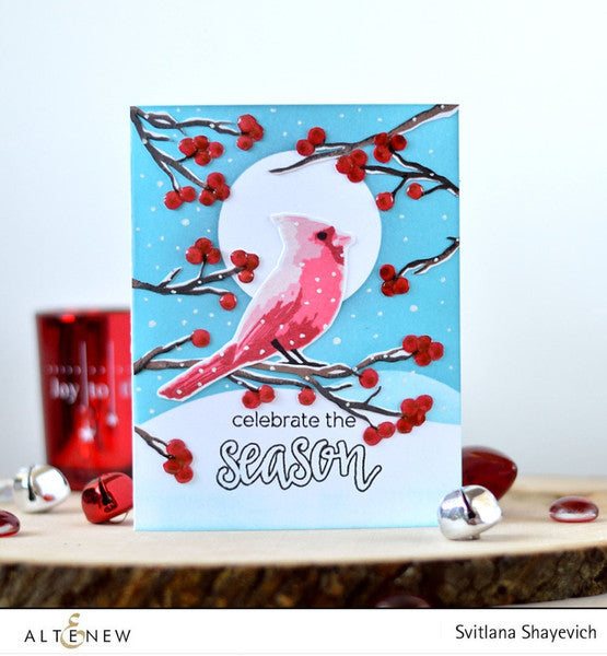 "Altenew - 4"" x 6"" Stamp Set - Winter Cardinal (coordinates with Winter Cardinal Die Set)"