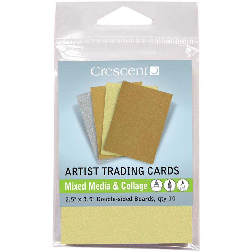 "Crescent Artist Trading Cards 2.5""X3.5"" 10/Pkg - Mixed Media & Collage - Metallic Colors"