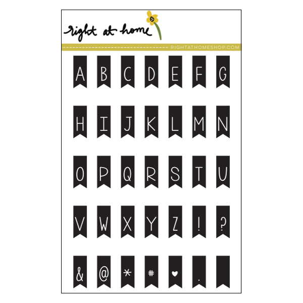 "Right at Home - 4"" x 6"" Stamp Set - Banner Alphabet"