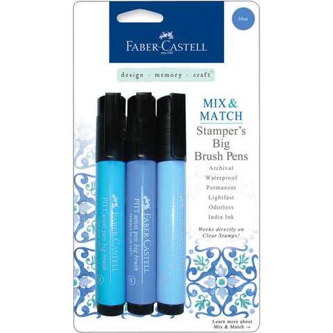Faber-Castell Mix & Match Stamper's PITT Big Brush Pen Set 3/Pkg - Blue