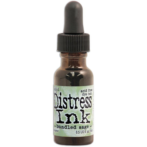 Ranger - Tim Holtz Distress Re-inker, Refills .05 oz bottle with dropper Bundled Sage