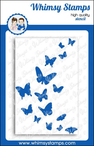Available 2/11-Whimsy Stamps -Flight of the Butterflies ( Stencil)