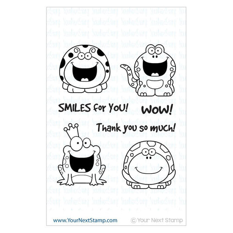 "Your Next Stamp Clear Stamp 4"" x 6"" - Smiley Happy Critters One"