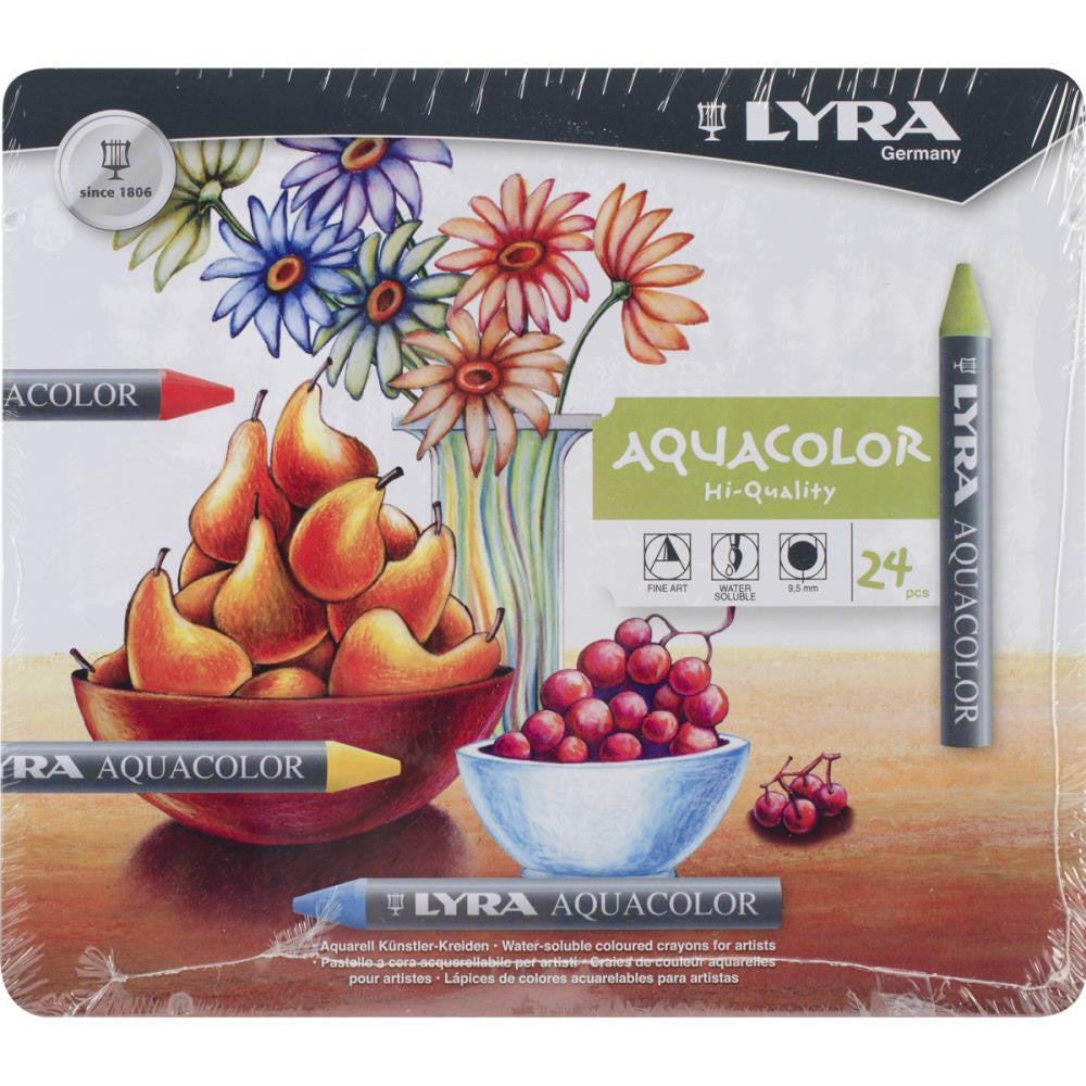 Lyra Aquacolor Water-Soluble Crayons 24/Pkg - Assorted Colors