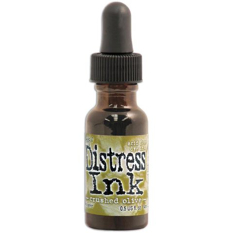 Ranger - Tim Holtz Distress Re-inker, Refills .05 oz bottle with dropper Crushed Olive