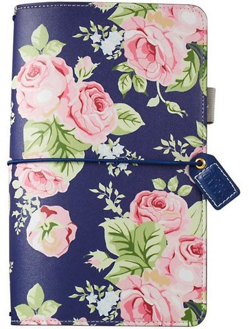 (Pre-Order) Webster's Pages - Faux Leather Travelers' Planner - Navy Floral