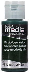 Deco Art Media Fluid Acrylic Paint 1oz - Pthalo Green-Yellow