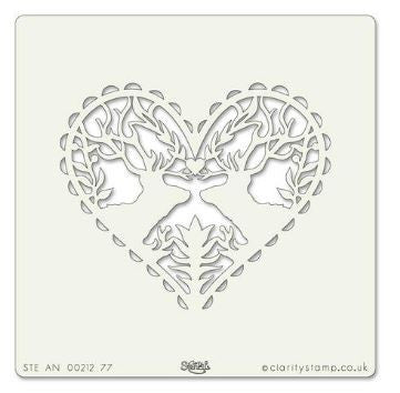 "Clarity Stamp - Deer Heart Stencil 7""x7"""
