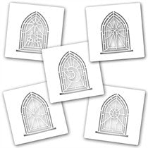 "Clarity Stamp - 7"" x 7""  Stencil - ""Stained Glass Window Set (5 stencils)"""
