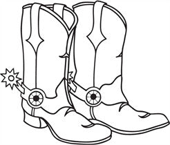 "Clarity Stamp -  Clear Stamp ""As Seen on TV"" -  Large Cowboy Boots  2.28"" x 2.71"" (stamp size)"