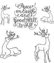 Clarity Stamp -  Clear Stamp - Remountable Deer & Peace on Earth Christmas Message  + MASK (Unmounted)