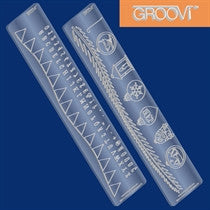 Clarity Stamp -  GROOVI Border Plates - 3 & 4 (Bunting Wave & Christmas Border)