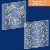 "Clarity Stamp -  GROOVI A5 Plates - ""Three Doves and Sprig Swirl"""