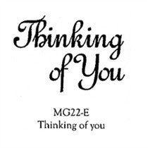 "Clarity Stamp -  Clear Stamp -  ""Thinking of You"" 1.18"" x 1.77"" (stamp size)"