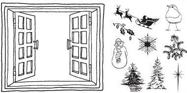 Clarity Stamp, Clear Stamp - Remountable Christmas Miniatures & Window Stamp Set + MASK (Unmounted)