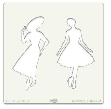 "Clarity Stamp - ELEGANT LADIES STENCIL 7"" X 7"""