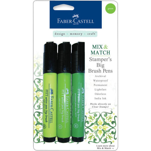 Faber-Castell Mix & Match Stamper's PITT Big Brush Pen Set 3/Pkg - Green