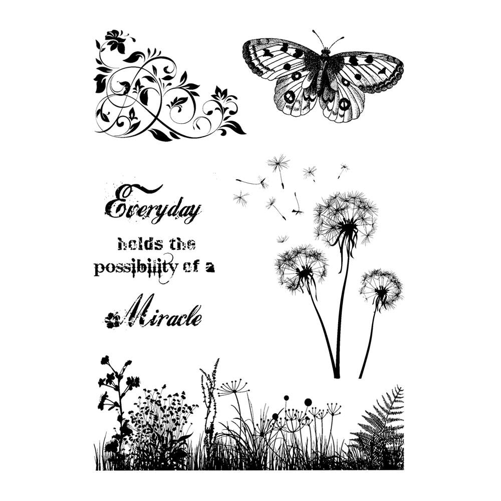 "IndigoBlu - Cling Mounted Stamp 9.25"" X 6.25"" - Wild Meadow"