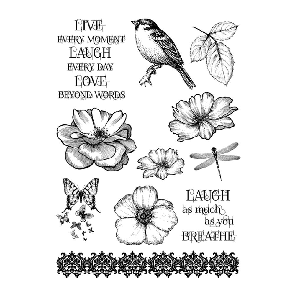 "IndigoBlu Cling Mounted Stamp 9.25""X6.25"" - Live Laugh Love"