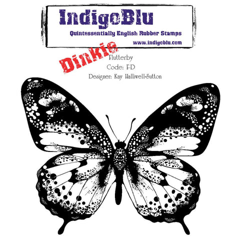 "IndigoBlu Cling Mounted Stamp 4""X4"" - Dinkie - Flutterby"