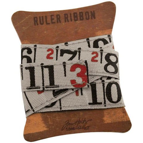"Tim Holtz Idea-Ology - Canvas Fabric Ruler Ribbon .625""X1yd"