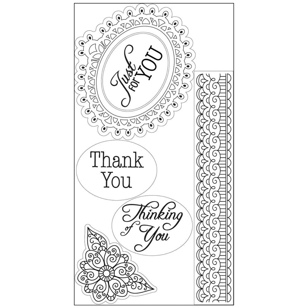 Sizzix Interchangeable Clear Stamps By Jen Long - Doodle Label W/Phrases