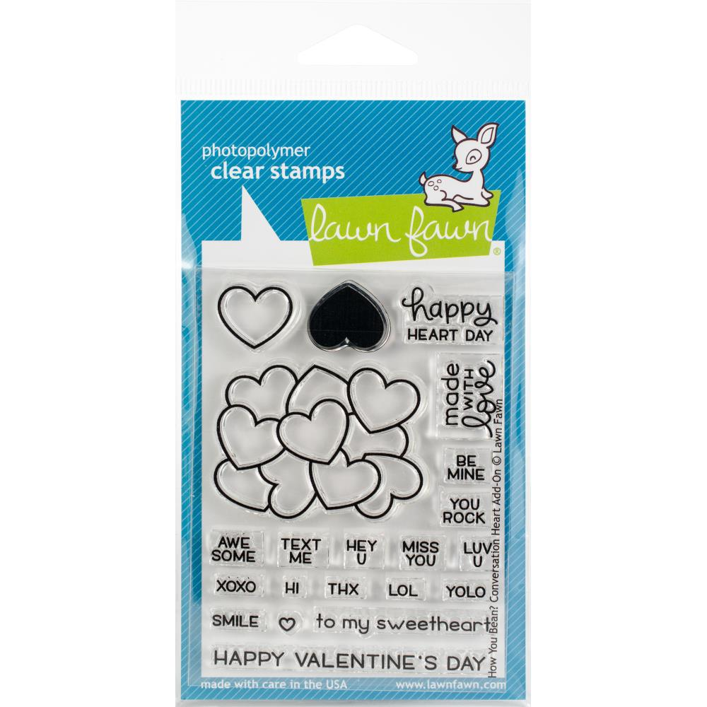 "Lawn Fawn Clear Stamps 3""X2"" Conversation How you bean heart add on"
