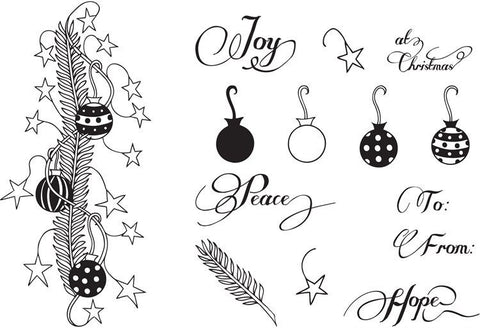 Clarity Stamp - Unmounted Clear Stamp Set - Christmas Sprig & Decorations