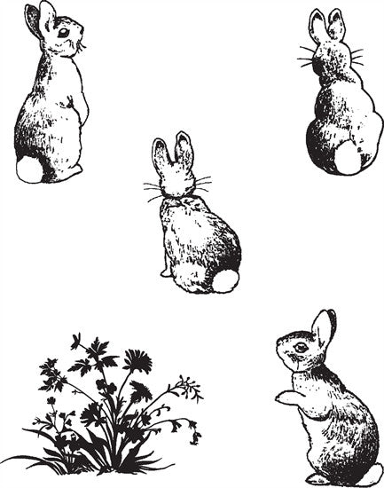 Clarity Stamp - Clear Stamp - Bunnies + MASK (Unmounted)