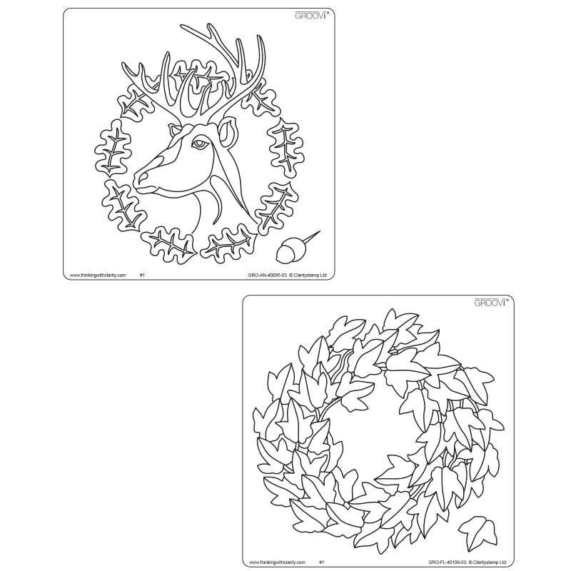 Clarity Stamp - Oak Deer & Ivy Wreath Groovi Plate Set