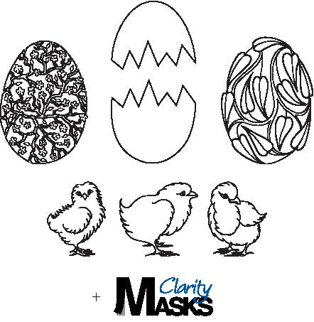 Clarity Stamp - Clear Stamp -Chicks & Eggs + MASKS (Unmounted)