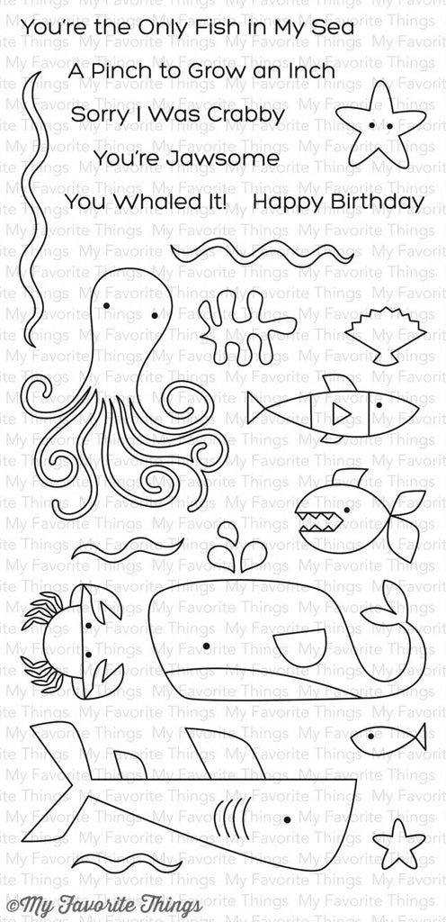 "My Favorite Things - 4""x8"" Clear Stamp Set - Ocean Pals"