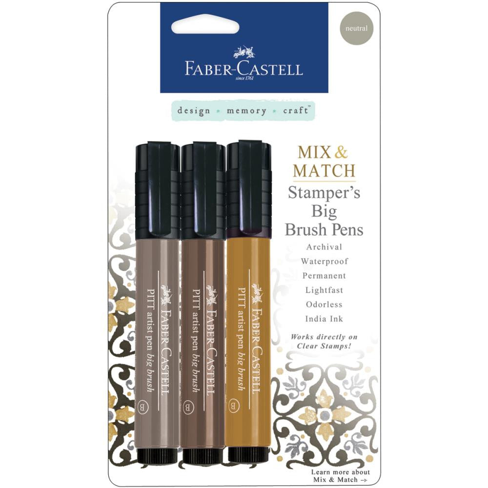 Faber-Castell Mix & Match Stamper's PITT Big Brush Pen Set 3/Pkg - Neutral