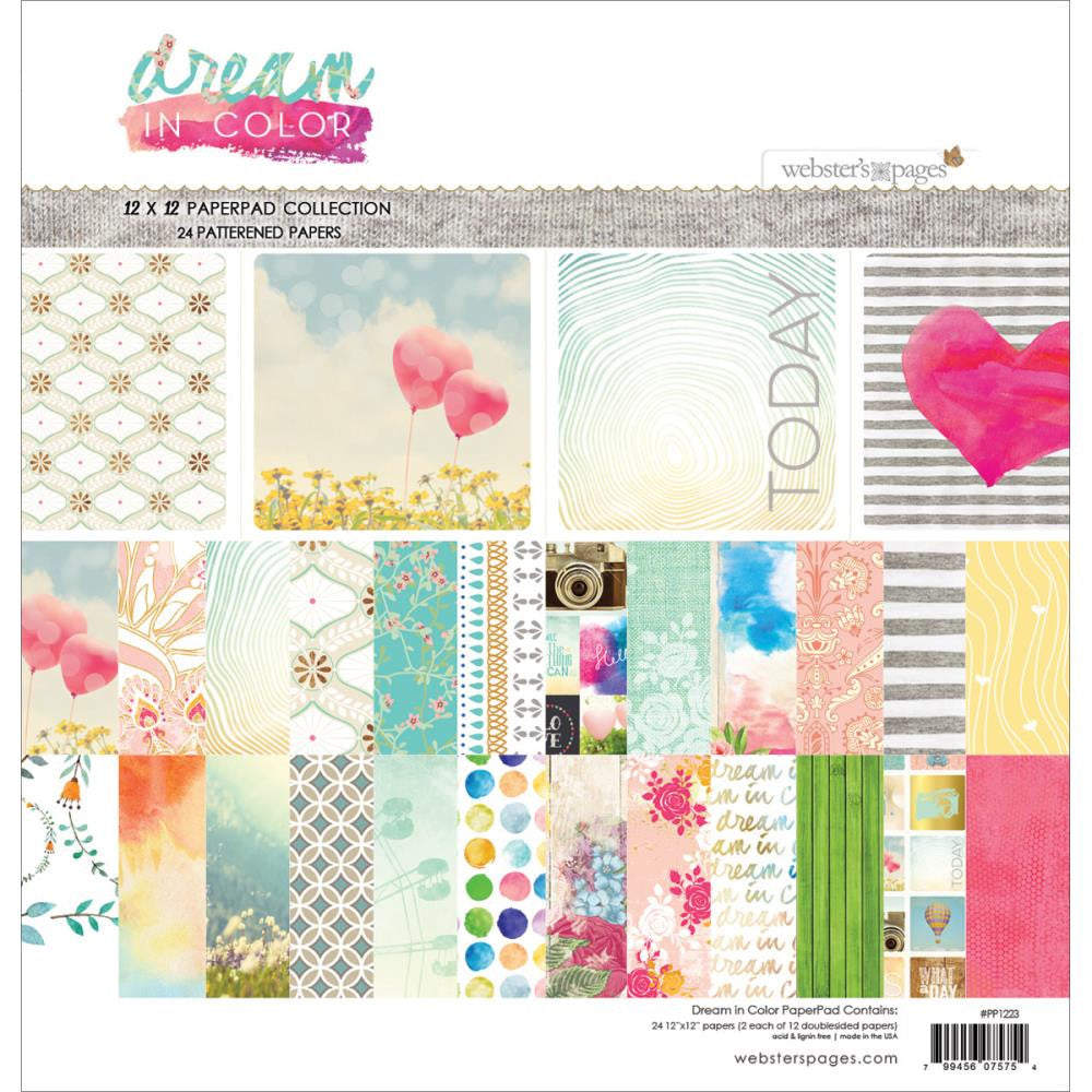 "Webster's Pages Paper Pad 24 pages, double sided 12""X12"" - Dream in Color"