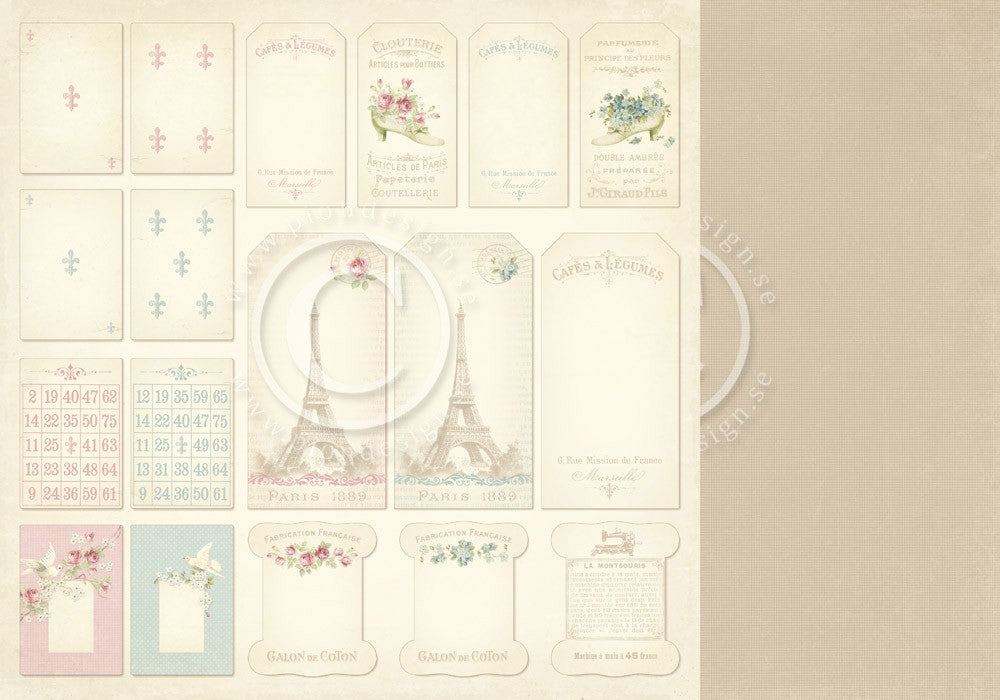 "Pion Designs Paper - Paris Flea Market - 12"" x 12"" - Tags"