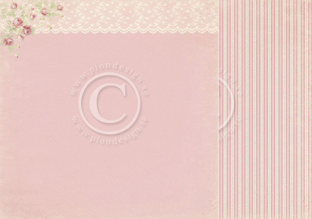 "Pion Designs Paper - Paris Flea Market - 12"" x 12"" - Pink Lace"
