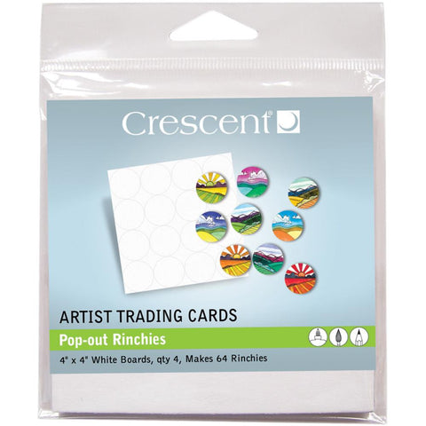 "Crescent Artist Trading Cards 4""X4"" 4/Pkg - Pop out Rinchies"