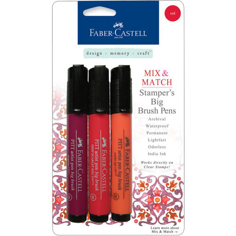 Faber-Castell Mix & Match Stamper's PITT Big Brush Pen Set 3/Pkg - Red