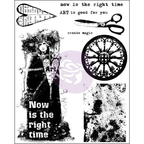 "Prima - Finnabair Cling Stamps 6""X7.5"" - Now is the Right Time"