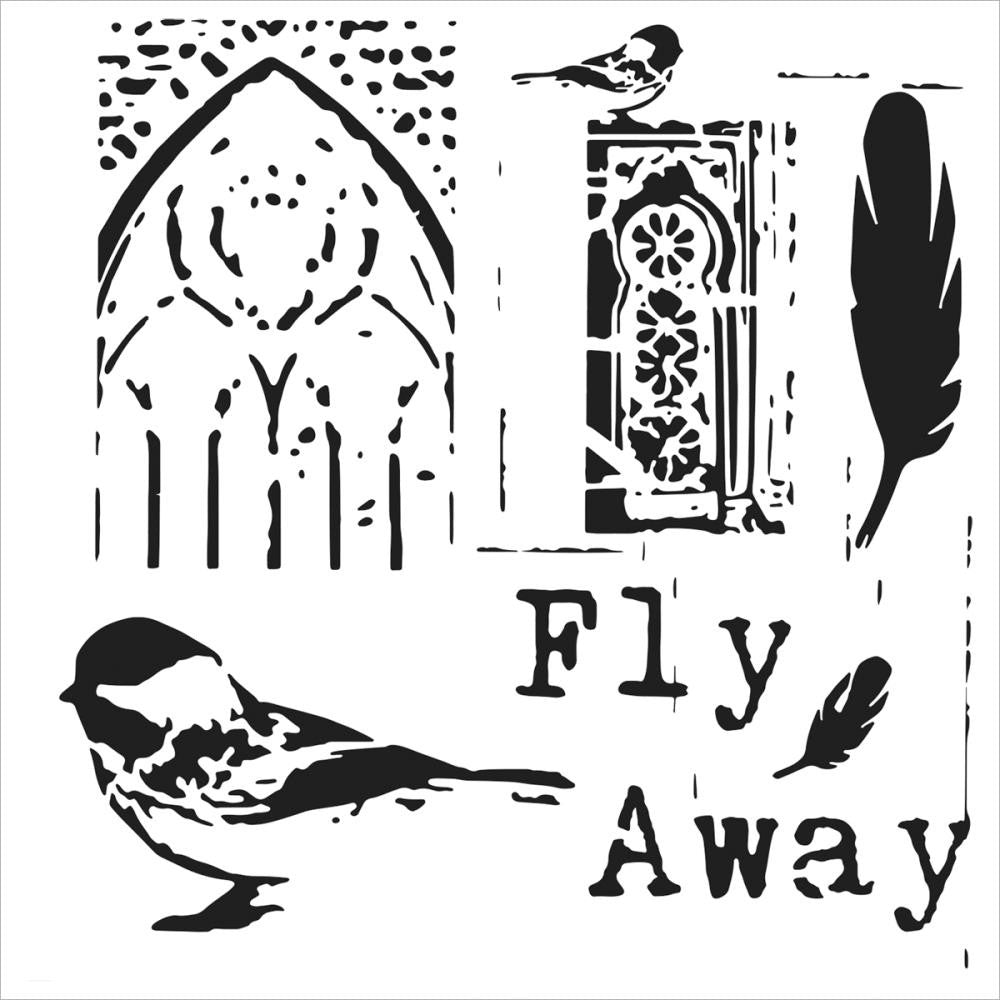"TCW 6"" x 6"" Stencil - Rebekah Meier - Mini Fly Away"