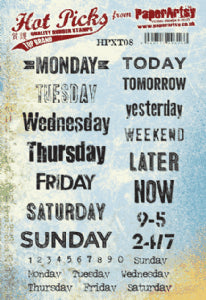 PaperArtsy - Hot Pick- Xtra 08 {Days and Months 3} (A5 stamp set, trimmed, EZ mounted) Red Rubber Stamp