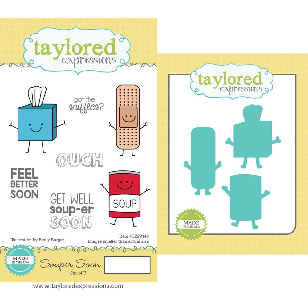 "Taylored Expressions Cling Stamp & Die Set 5.5""X3"" - Souper Soon"