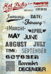 PaperArtsy - Hot Pick- Xtra 07 {Days and Months 2} (A5 stamp set, trimmed, EZ mounted) Red Rubber Stamp